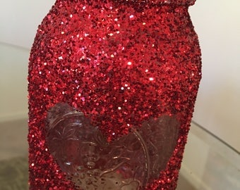 BEAUTIFUL NEW Glitter Red Heart Mason Jar!!!