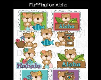 Fluffington Bear Aloha Planner sticker clipart personal and small commercial use ok