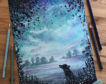 "Enchanted Fox Dusk Scene  - Watercolour Painting On Fine Art Paper - 9"" x 12"""