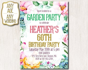 60th garden party invitation, 50th birthday party Invitations, Summer garden party invitation, Floral birthday invitation ANY AGE - 1648