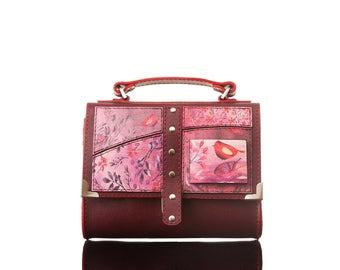 Wings - Red Bag  Crossbody Bag, Handmade, Genuine Leather Bag, Handbag, Print, Motivational Quote