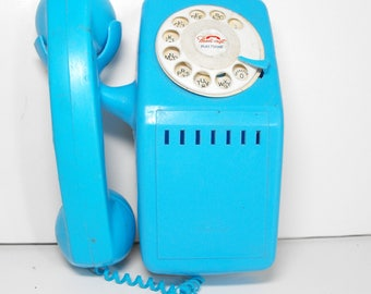 Blue Toy Telphone Wall Unit Style Rotary Dial by Handi-Craft   (1022)
