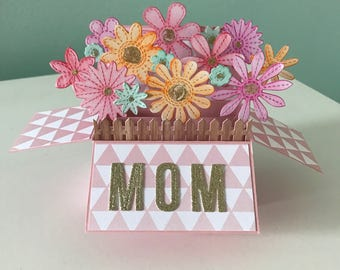 Box card, card in a box, Mother's Day card, card for mom, handmade card for mom