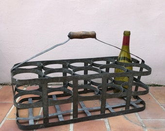 ANTIQUE VINTAGE FRENCH Handmade Metal 10 Bottle Wine Carrier Basket 0503201711