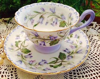 Shelley Demitasse cup and saucer in Harebell pattern