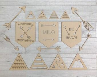 Arrow Decor, Wood Blanks, Wood Flag, Craft Supplies, Mountain Nursery, Boys Bedroom Decor, Scandi Style Decor, Wall Art, MDF Shapes