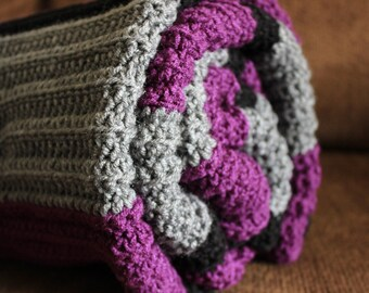 Purple, Gray & Black Crocheted Blanket