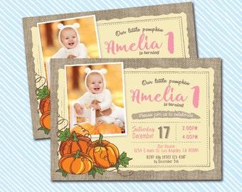 Digital Printable Pumpkin Birthday Invitation. Girl Birthday. Boy birthday