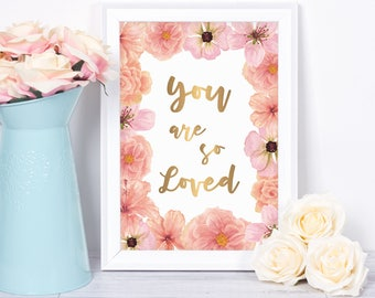 Nursery Wall Art, Baby Girl Nursery, Pink Nursery, You Are So Loved, Nursery Print, Nursery Art, Blush, Rose, Coral, Peach, Wall Art Print