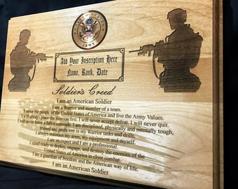 Personalized Army Award - Army Soldier's Creed Plaque