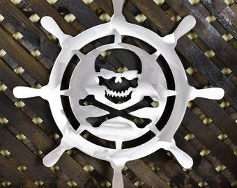 Ship Wheel, Skull and Bones Ship Wheel, Skull and Bones Pirate Ship Wheel Metal Home Decor, Metal Wall Art