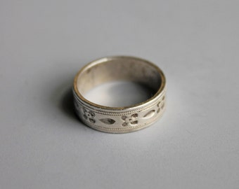 Antique Victorian Sterling Silver Floral Wedding Band Ring