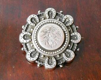 Antique Hallmarked Silver Locket Brooch, Fuchsia & Horseshoe Decoration, 1905