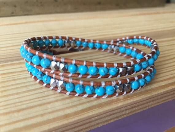 Turquoise double wrap bracelet with silver Czech bead accents, 4mm, gift, bridesmaid, cowgirl, elegant,