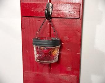 Mason Jar Wall Decor, Barn Door Decor, Rustic Home Decor, Red Farmhouse Decor, Candle Holder, Home Decor, Hanging Jar