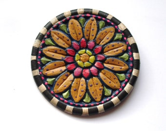 "hand painted wood sunflower pin/brooch-3-1/2"" in diameter, folk art style/prairie chic/country jewelry/flea market style"