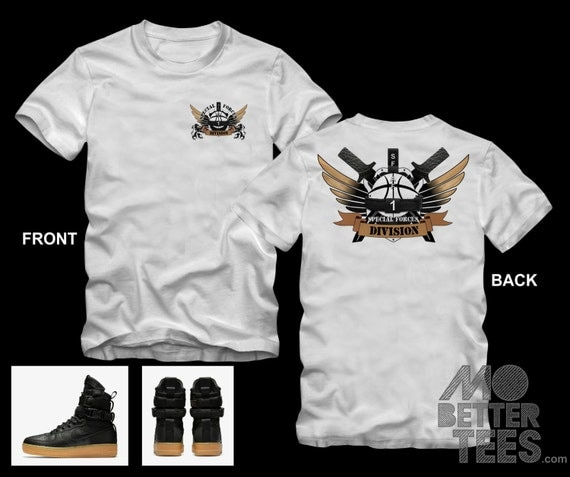 Shirt By MoBetterTees made to match NIKE SF-AF1 Black & Gum Light Brown Air Force 1