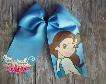 Beauty and the Beast, Princess Belle, Hand painted cheer bow, Painted hair bow, cosplay, dress up, hair accessory
