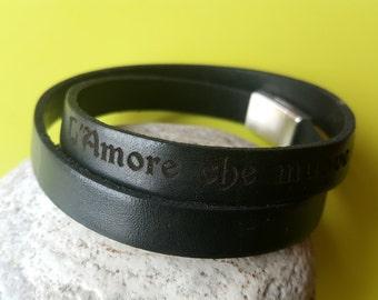 Bracelet Dante Alighieri, Leather Custom Bracelet, Double Wrap Brown Leather Cuff. Engrave Leather Bangle, Men Strap Bracelet