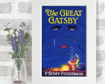 The Great Gatsby Print - Original Book Cover A4 Framed Glossy Colour - Literature Gift