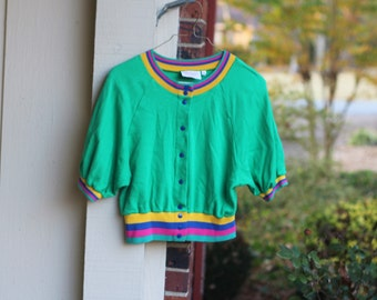 Andrew Downs Green 80s Snap Button Up Top Wild Colorful Striped Woman's Size Small Shirt Elastic Waist Vintage Retro Hipster
