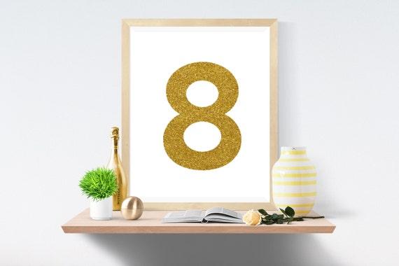 Printable Art, Number 8, Gold, Art Prints, Wall Art, Art Print, Wall Prints, House Number, Table Printable, Instant Download, Modern Art