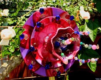 Glass Garden Flower! Always in bloom, hibiscus inspired garden flower art. Glass Garden Art, Sun Catcher