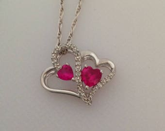 Double Heart Diamond Necklace, Open Heart Necklace 24.5""