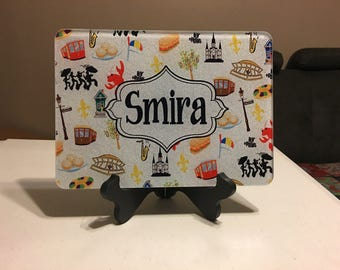 Personalized glass cutting board New Orleans Theme