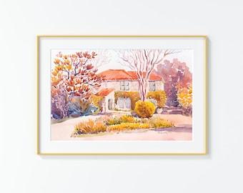Original Watercolor Painting,Watercolor Painting,landscape,San Antonio, Thelma Dr