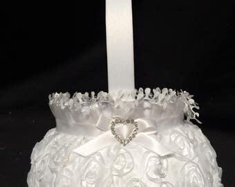 Flower girl basket rosette design in white- wedding flower basket - mini rose flower girl basket