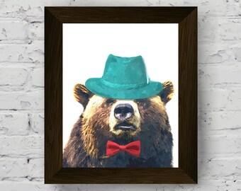 animal wall art, woodland nursery decor, bear print, funny animal, printable large poster, bear instant digital download, kids room wall art