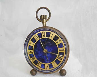 Vintage 8 Day Brass Desk Night stand Alarm Clock Lapis Blue Face Caravelle 8 Day Pocket Watch Style Midnight Sky 2 1/2 nch Diameter Travel