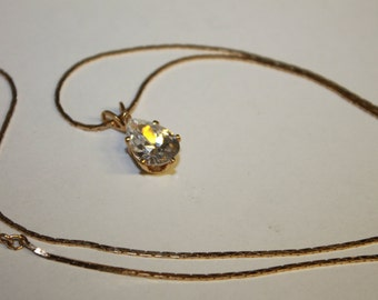 Gold Tone Chain With a Dazzling Cubic Zirconia Teardrop Pendant Vintage Estate Jewelry Dainty Delicate