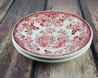 1940's set of 2 plates - Red Clarice Cliff Royal Staffordshire TONQUIN Made in England Decorative plate