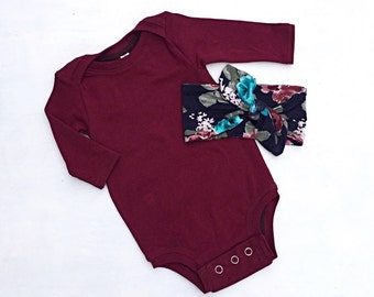 Burgundy baby bodysuit,solid color bodysuit,baby one-piece,cute baby clothes,floral baby head wrap,long sleeve bodysuit,baby head bow,baby