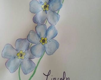 Forget Me Nots Rembrance Painting