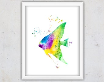 Colorful Watercolor Tropical Fish Print, Marine Wall Art, Nursery Art Print, Digital Download Tropical Fish Poster, Kids Room Art, Fish Art