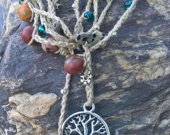 Tree of Life  Red Creek Jasper Bohemian necklace