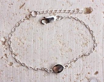 Smoky Quartz Gemstone Healing Bracelet, adjustable length in Sterling Silver