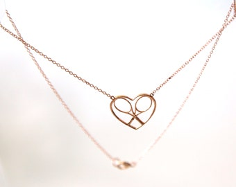 Tennis Lovers Heart and Rackets Necklace - Solid 14K Gold