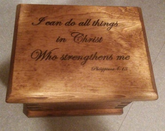 Unique Personalized Hand-Made Wooden Prayer Box// keepsake box ELWW0001