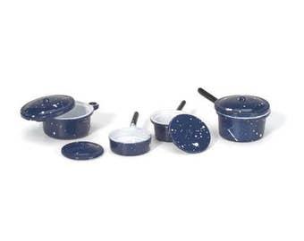 Miniature Blue Pots and Pans with Lids