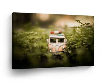 Classic Volkswagen Van Toy in the Green Photography Canvas Print Home Decor / Old Vintage Bus /Wall Art Gallery Wrapped /Ready to Hang