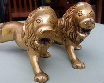 Brass lions, vintage, paperweight, retro