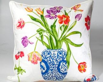 Designer pillow cover, Decorative pillow, Sanderson pillow cover, floral pillow, throw pillow