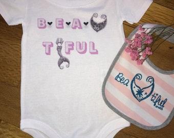 Beautiful Pink and Black Baby Girl Onesie/Bodysuit