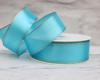 Wired Gold Edge Organza Ribbon, 1 Meter Organza Ribbon, 25mm Turquoise Ribbon, Christmas Ribbon, Gift Wrap, Etsy Shop Supplies.