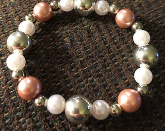 Silver, pink and white glass bead bracelet