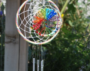 Rainbow Dream Catcher, Tree of Life, Wind chime,  FREE SHIPPING (USA)